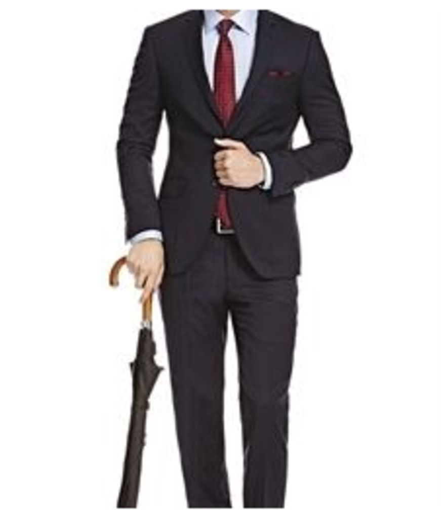 Men's Navy & Grey Small Stripe Slim Fit Suit - Super 120s Wool