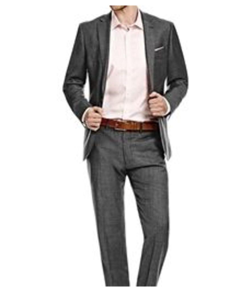 Men's Charcoal Twill Amalfi Classic Fit Suit - Super 120s Wool