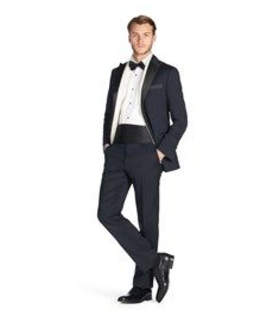 Men's Navy Tailored Fit Dinner Suit with Satin Trim - 100% Wool