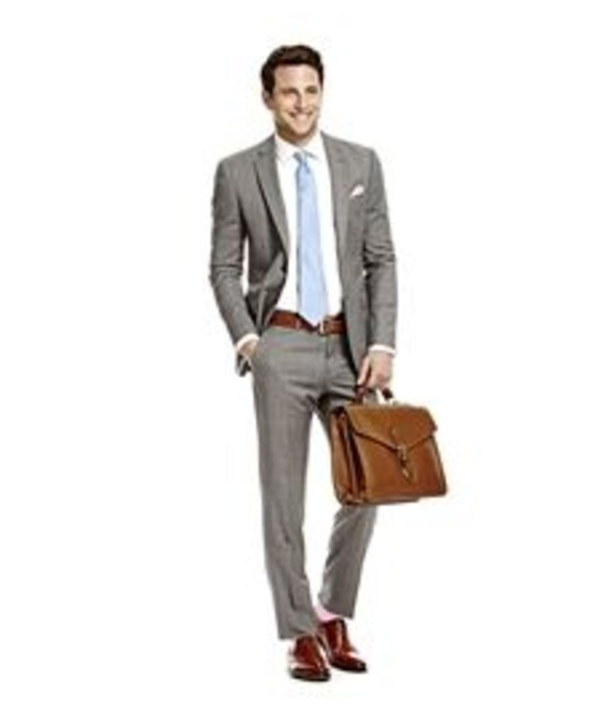 Men's Grey & White Windowpane Check Slim Fit Suit - Super 120s Wool