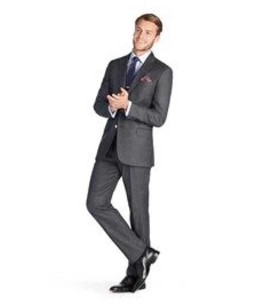 Men's Charcoal Grey Pique Slim Fit Italian Suit - 1913 Collection