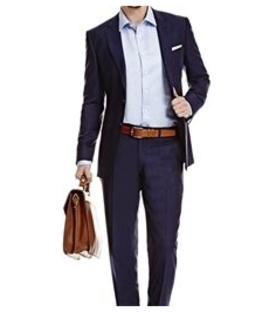 Men's Dark Navy Twill Slim Fit Suit - Super 120s Wool