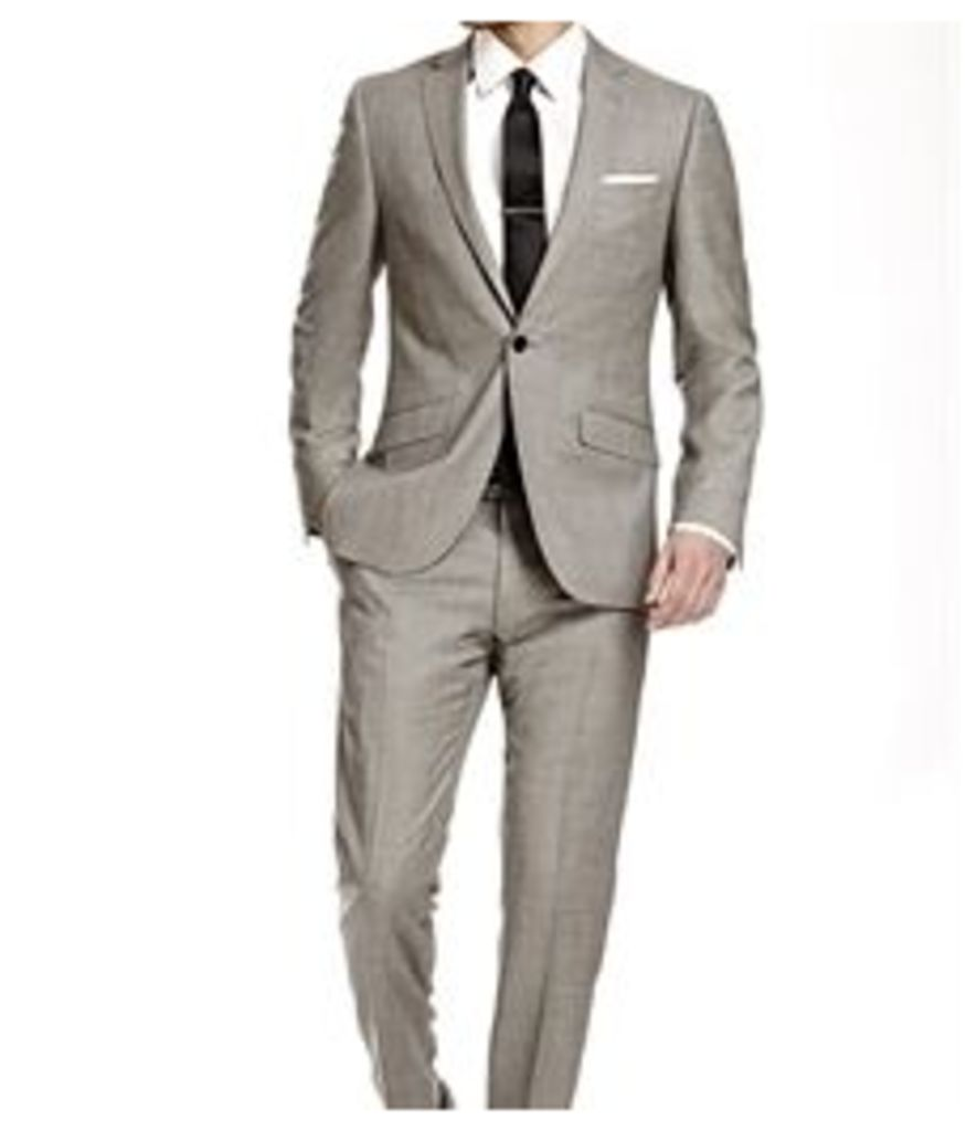Men's Grey Twill Extra Slim Fit Suit - Super 120s Wool