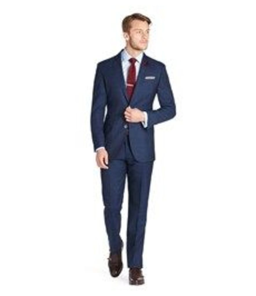 Men's Navy Prince of Wales Check 3 Piece Slim Fit Italian Suit - 1913 Collection