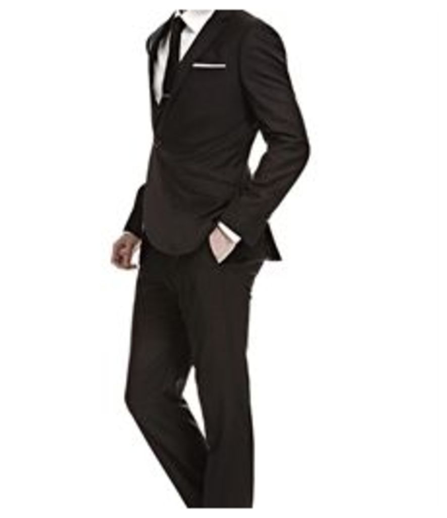 Men's Black Twill Extra Slim Fit Suit - Super 120s Wool