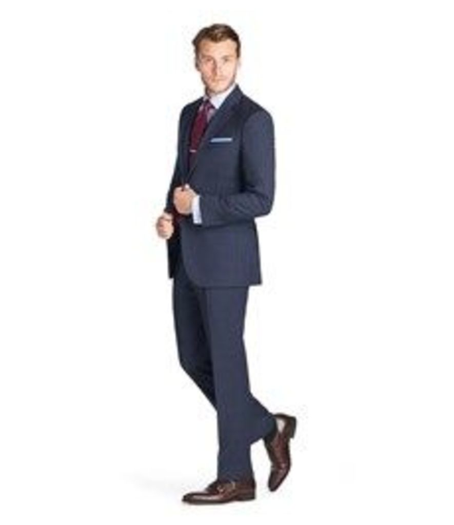 Men's Navy Prince of Wales Check Classic Fit Suit - Super 120s Wool