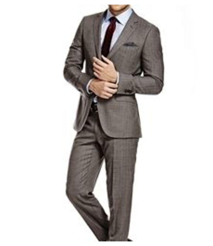 Men's Grey & White Herringbone Stripe Classic Fit Suit - Super 120s Wool