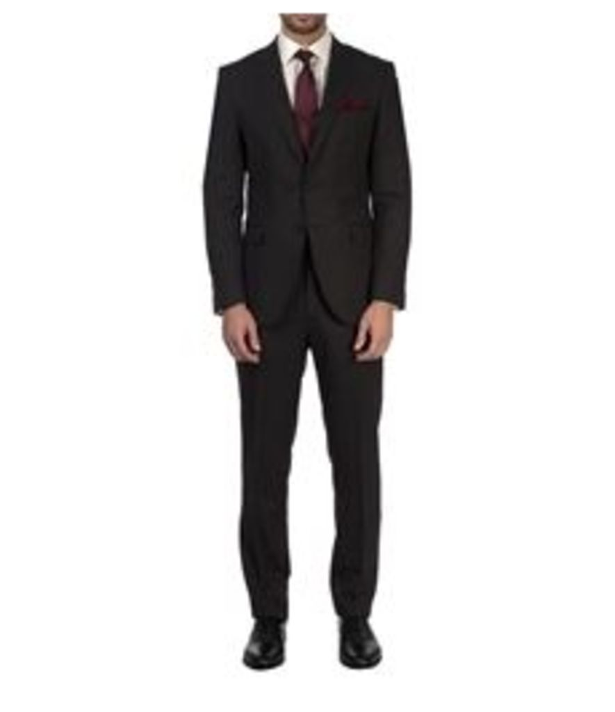 Men's Charcoal & Small White Stripe Slim Fit Suit - Super 120s Wool