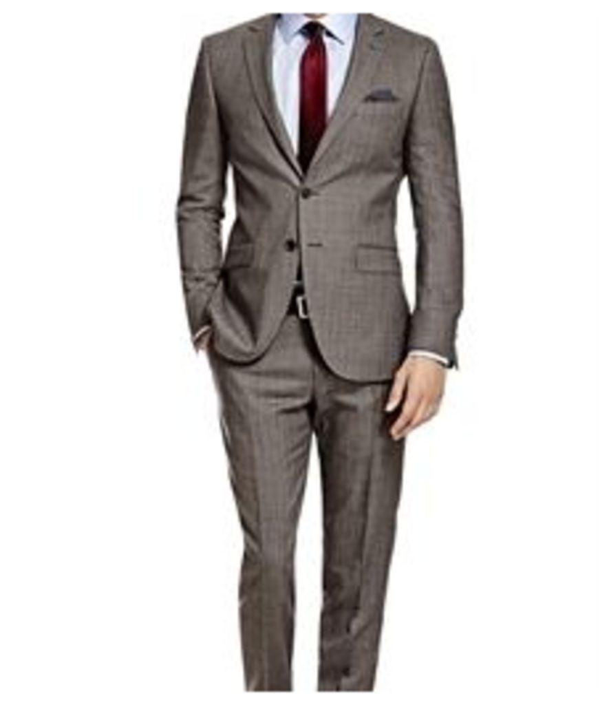 Men's Grey & White Herringbone Stripe Slim Fit Suit - Super 120s Wool