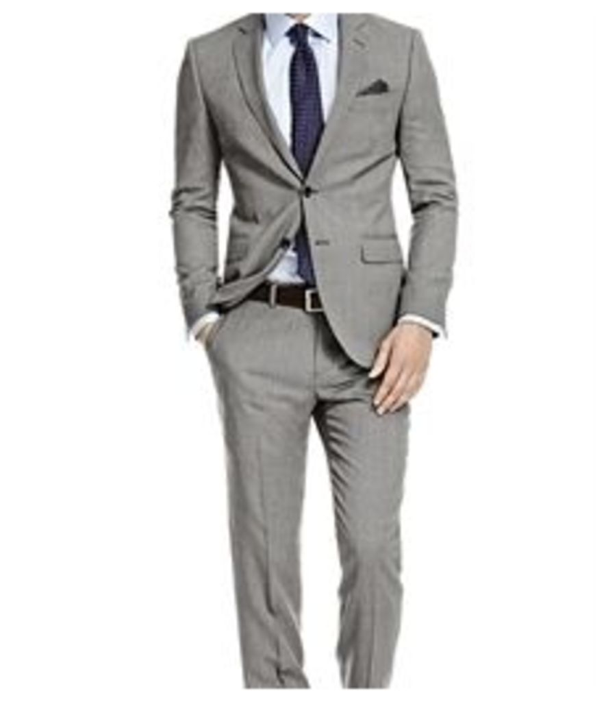 Men's Black & White Birdseye Slim Fit Suit - Super 120s Wool