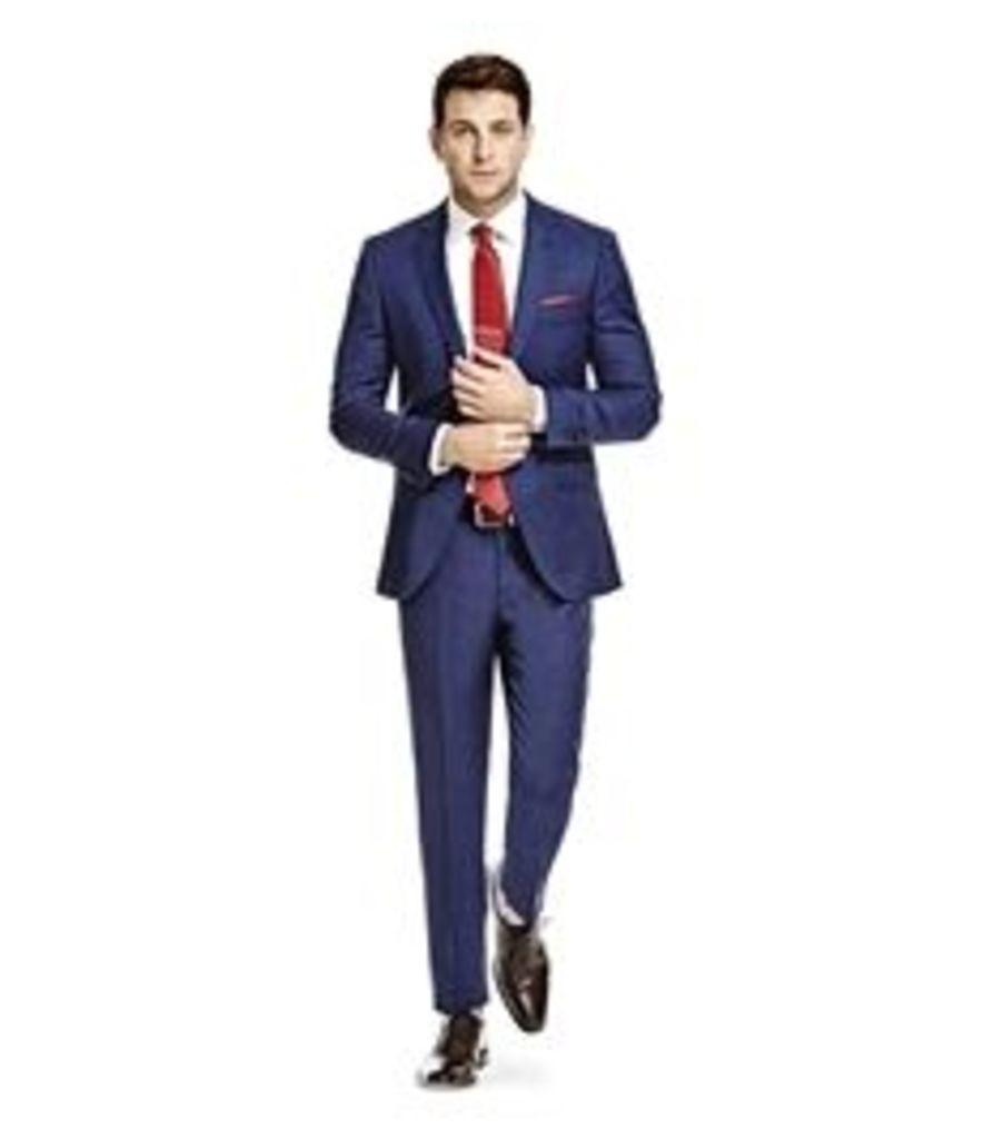 Men's Blue End On End  Slim Fit Suit - Super 120s Wool