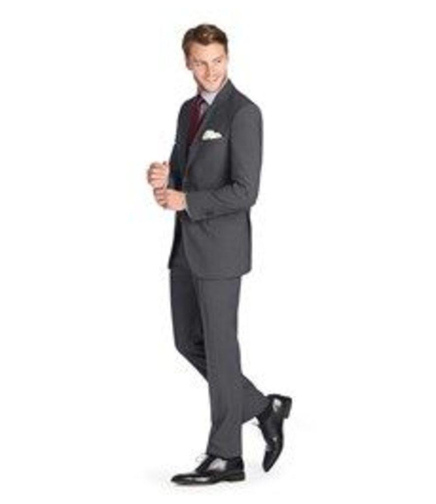 Men's Dark Grey Herringbone Classic Fit Suit - Super 120s Wool