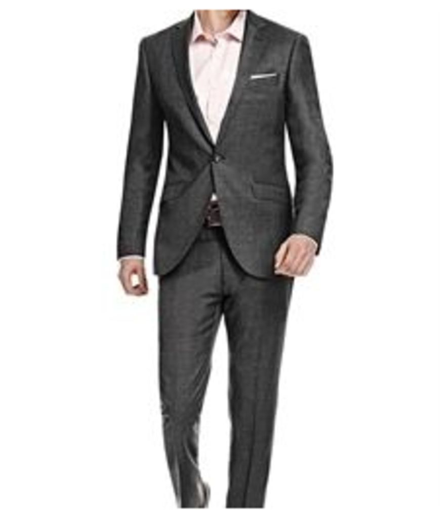 Men's Charcoal Twill Extra Slim Fit Suit - Super 120s Wool