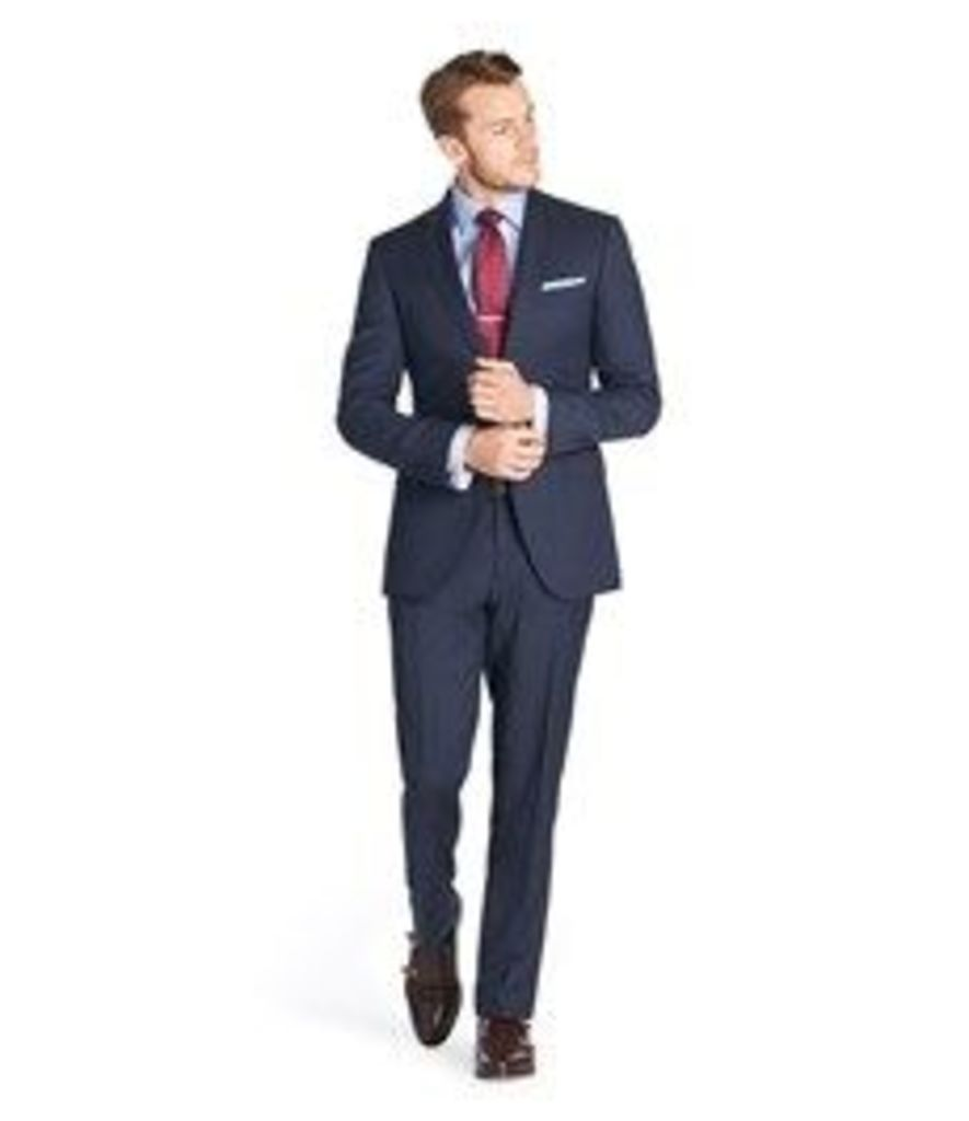 Men's Navy Prince of Wales Check Extra Slim Fit Suit - Super 120s Wool
