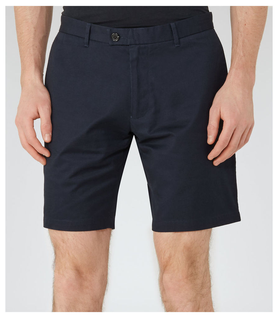 REISS Wicker  - Mens Tailored Cotton Shorts in Blue