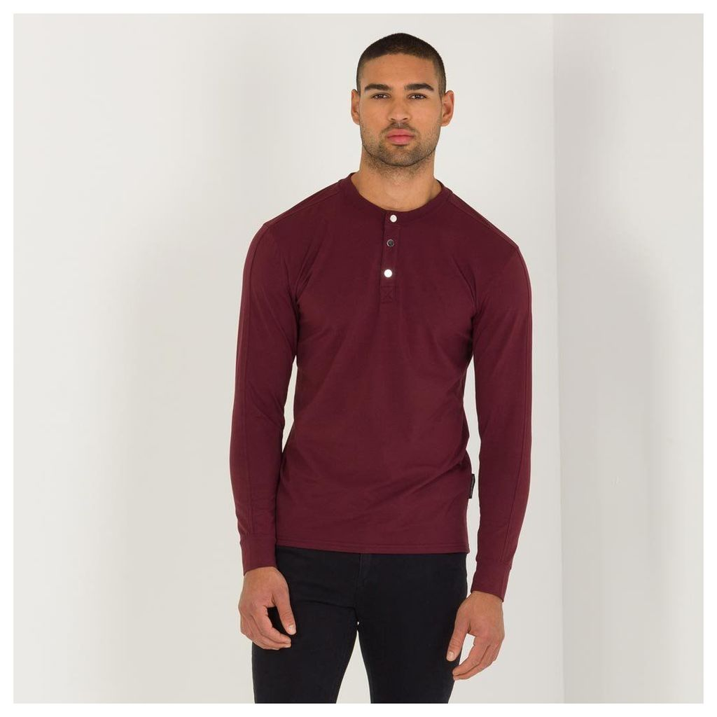 Maniere De Voir; Long Sleeve Top with Poppers - Merlot