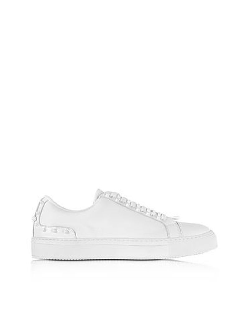 Neil Barrett - Optic White Leather Studded City Trainers