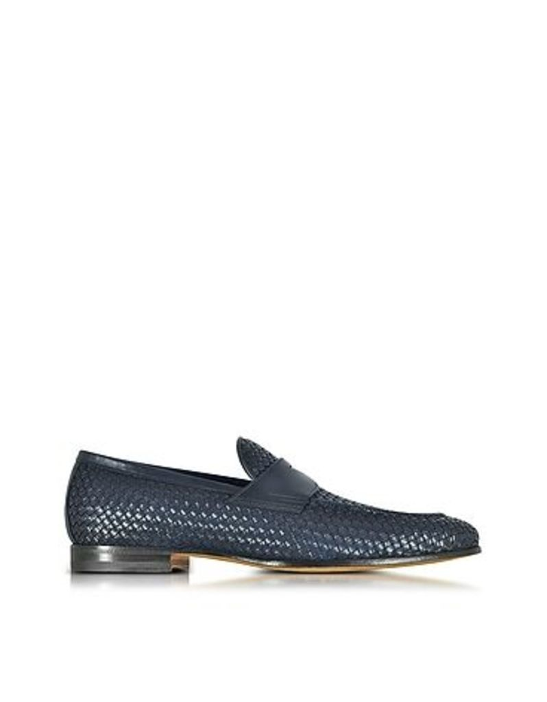 Santoni - Blue Woven Leather Loafer Shoes