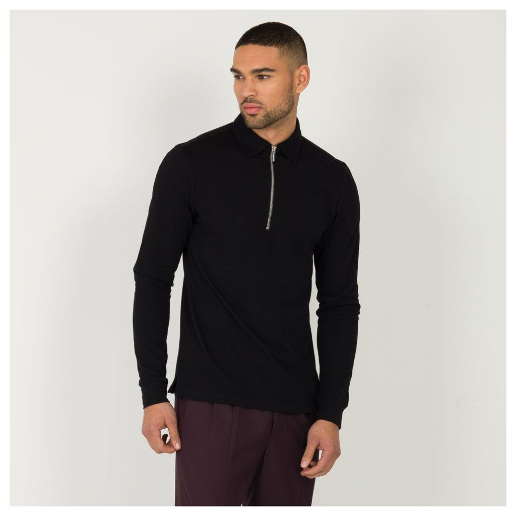 Maniere De Voir; Long Sleeve Polo Top - Black