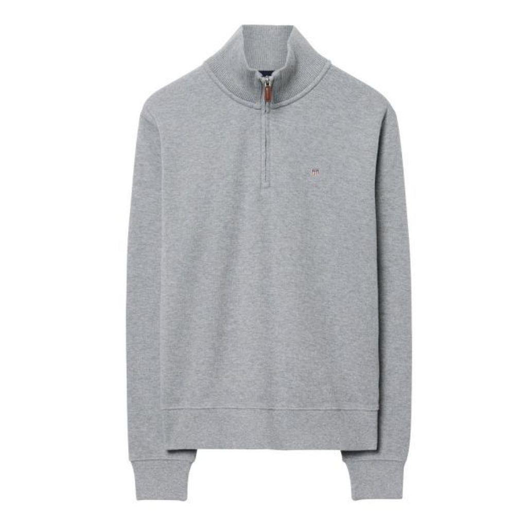 Sacker Ribbed Half-zip Sweatshirt - Grey Melange