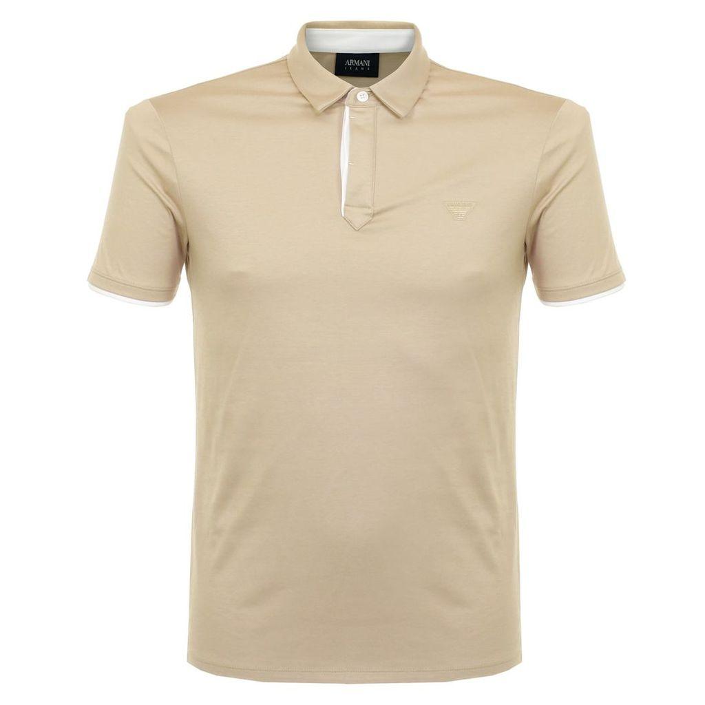 Armani Jeans Button Placket Beige Polo Shirt 3Y6F32