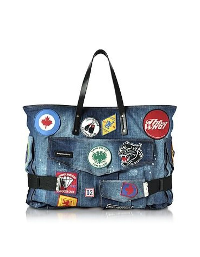 DSquared2 - Blue Washed Denim Oversized Tote w/Patches