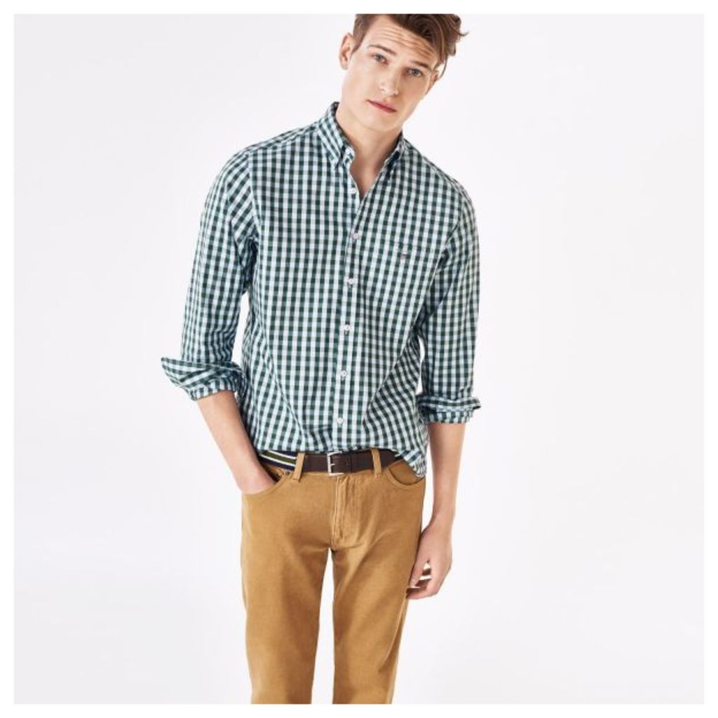 Heather Oxford Gingham Checked Shirt - Pine Green