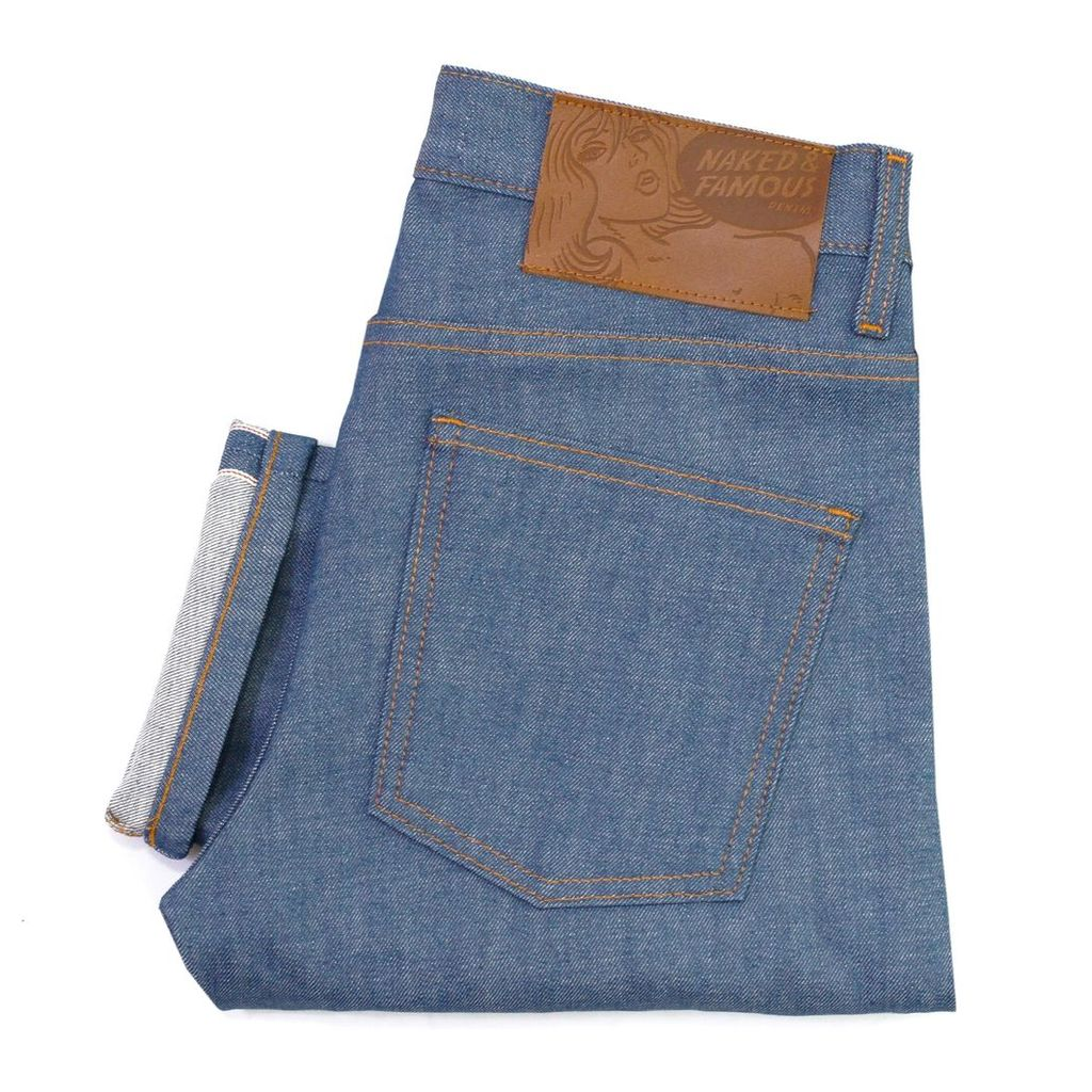 Naked and Famous Super Skinny Mid Blue Sunrise Selvedge Jeans