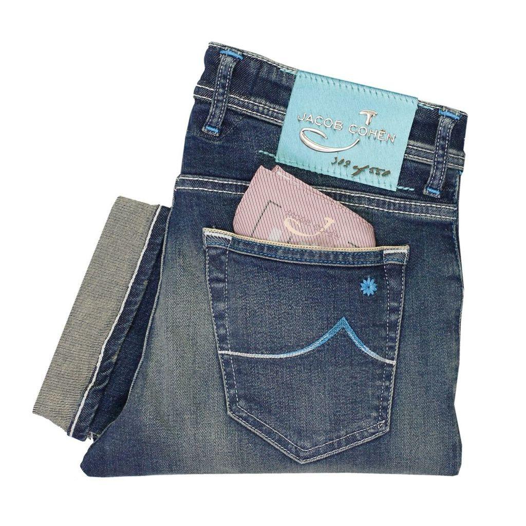 Jacob Cohen J622 Mid Blue Selvedge Denim Jeans