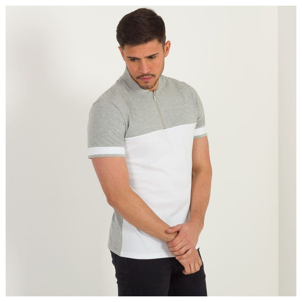 Maniere De Voir; Panelled Polo Shirt - Grey