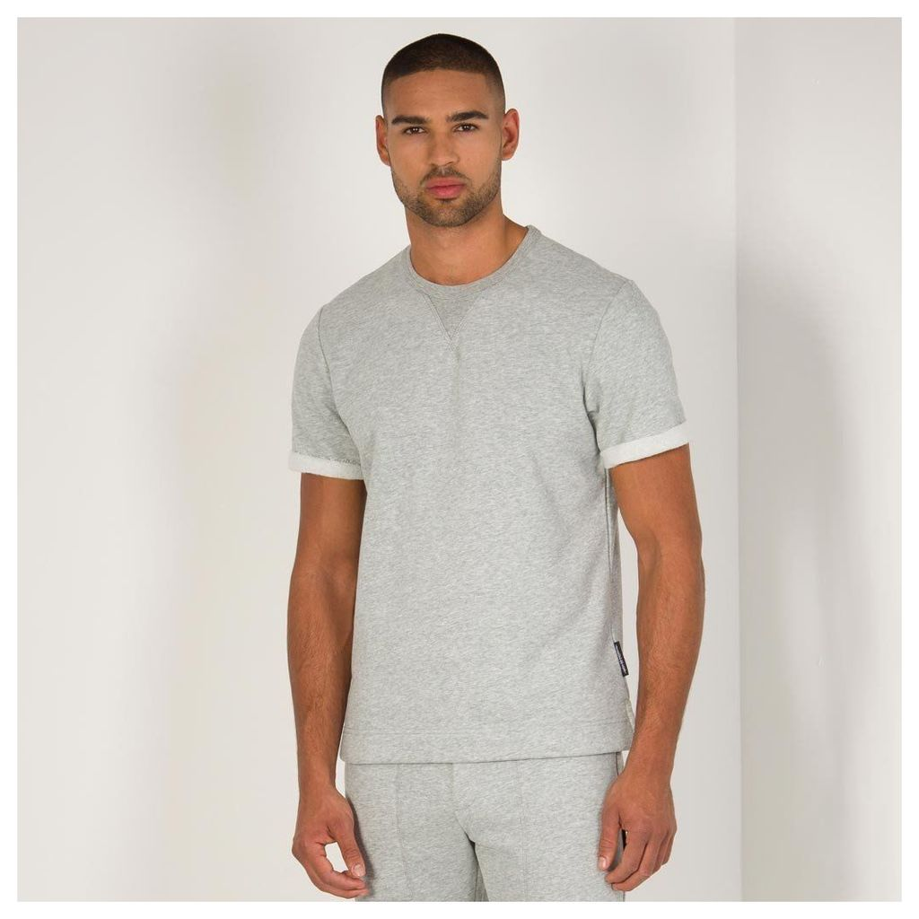 Maniere De Voir; Roll-Sleeve Jersey Top - Grey Marl