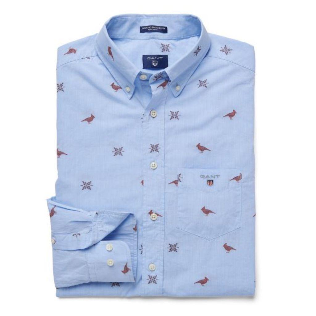 Cardinal Jacquard Shirt - Capri Blue