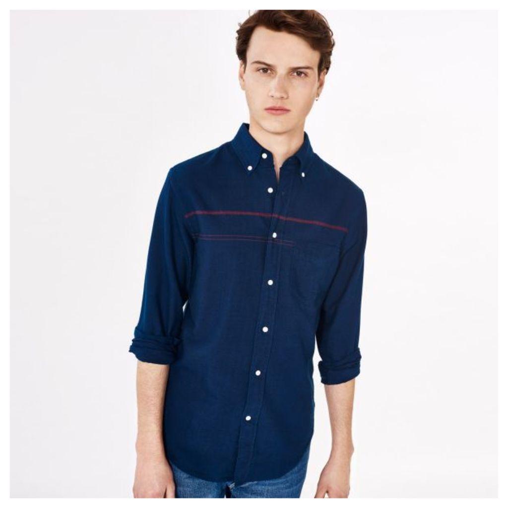 Indigo Oxford Front Striped Shirt - Dark Indigo