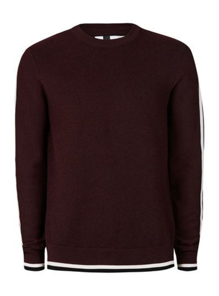Mens Red Burgundy and Black Fleck Taping Jumper, Red