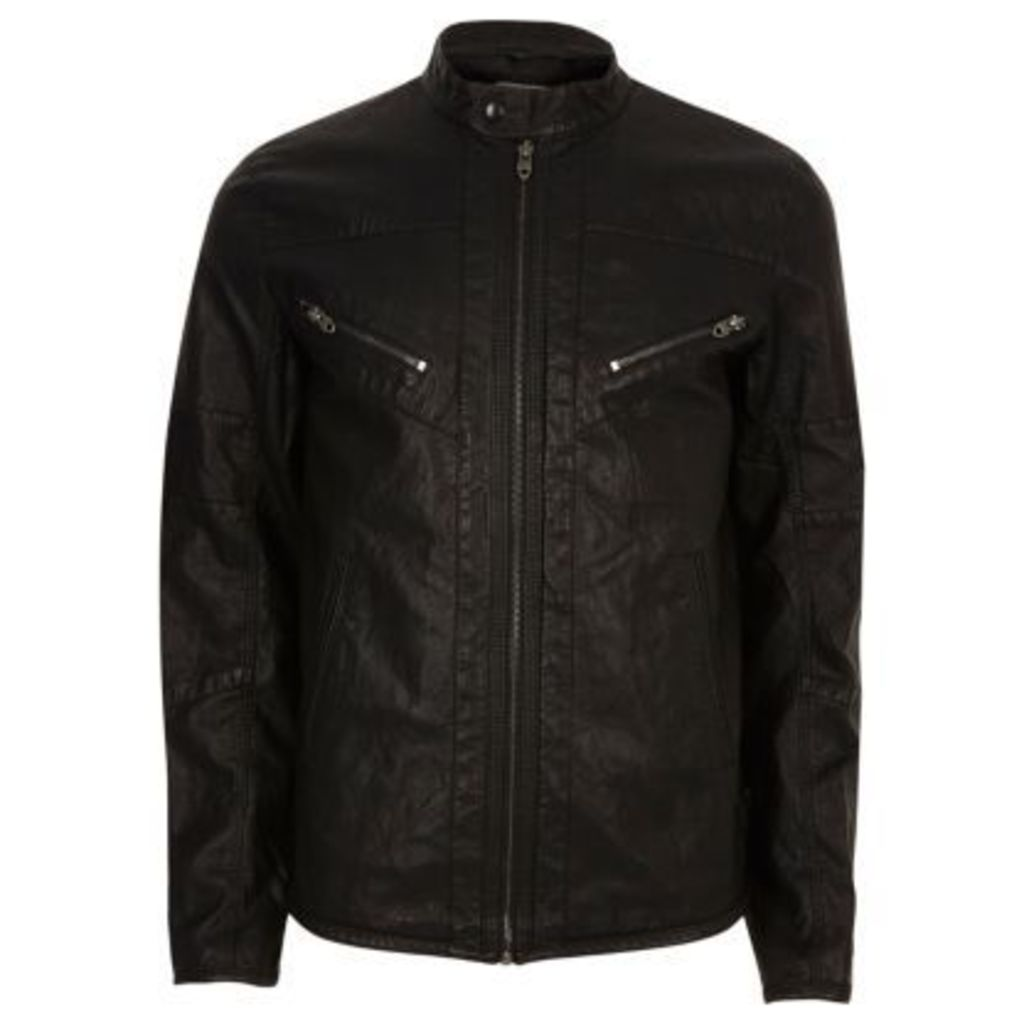 River Island Mens Black Jack & Jones Vintage zip jacket