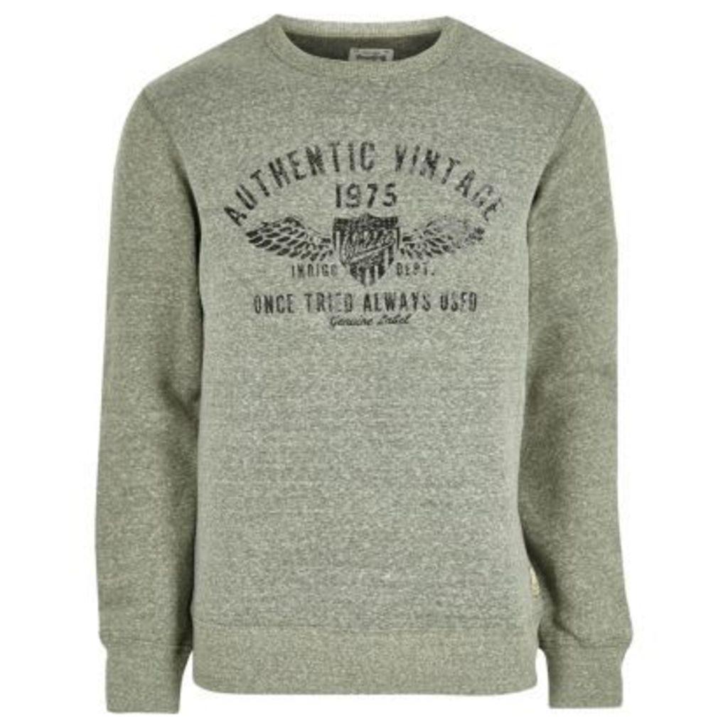 River Island Mens Green Jack & Jones Vintage soft sweatshirt