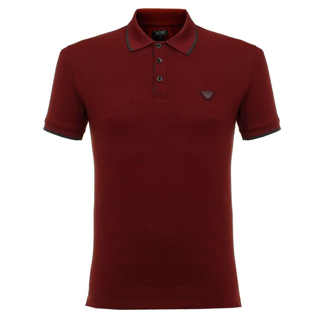 Armani Jeans Pique Bordeaux SS Polo Shirt 6X6F15