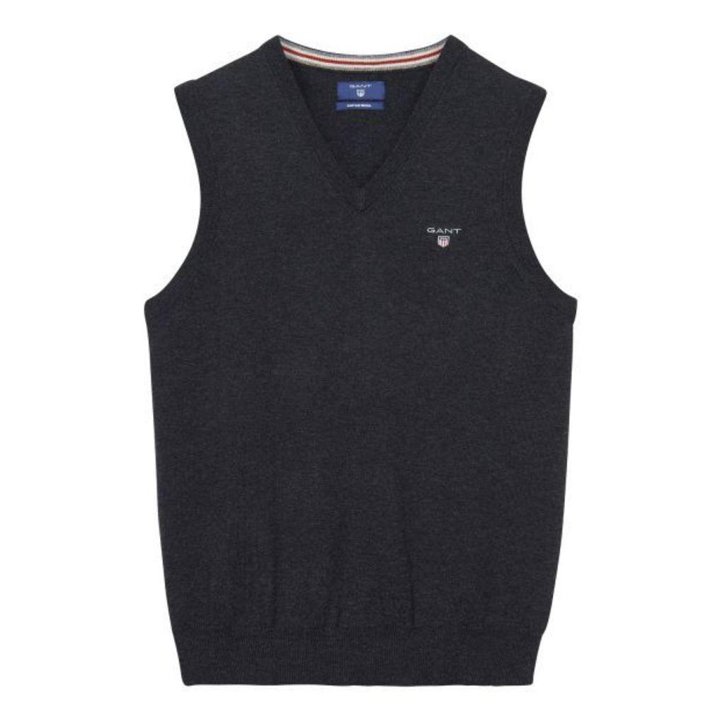 Cotton / Wool Slipover - Dk Charcoal Melange