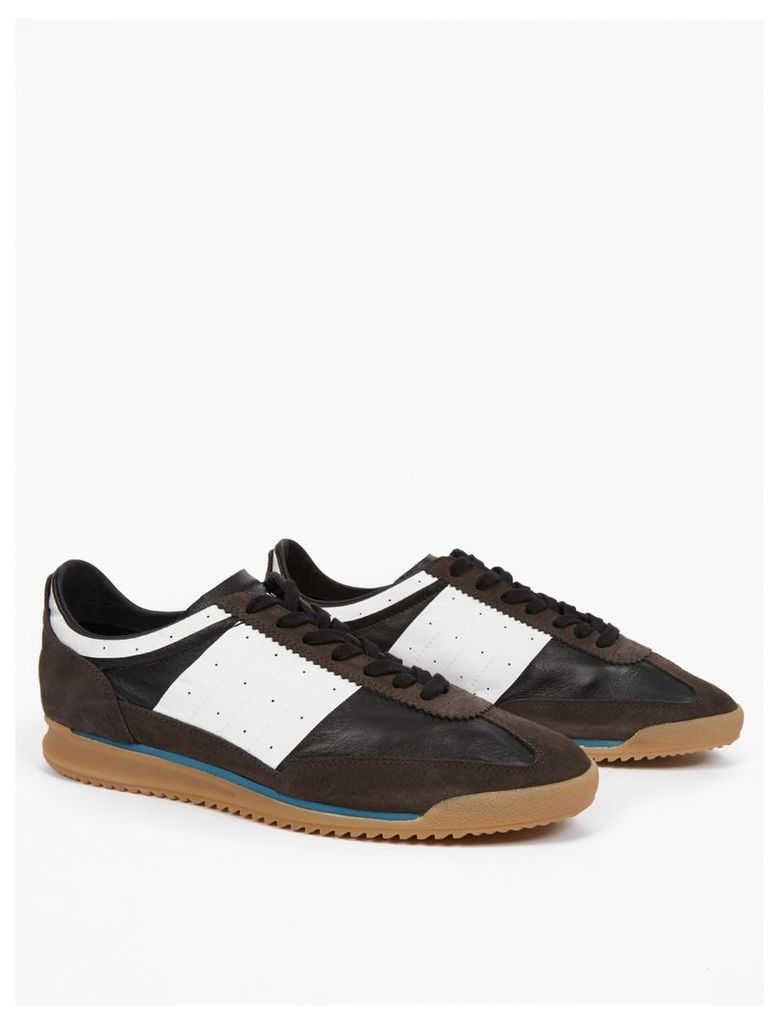 Brown Leather Running Sneakers