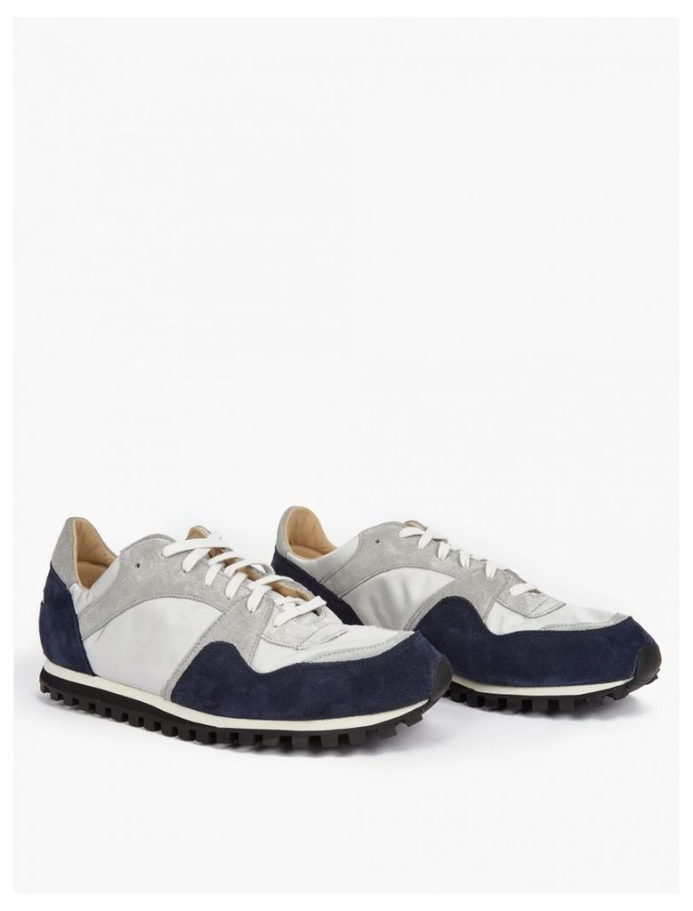 Grey and Navy Suede Marathon Trail Sneakers
