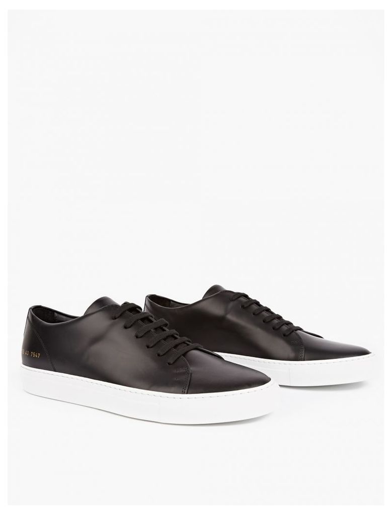 Black Low Court Leather Sneakers