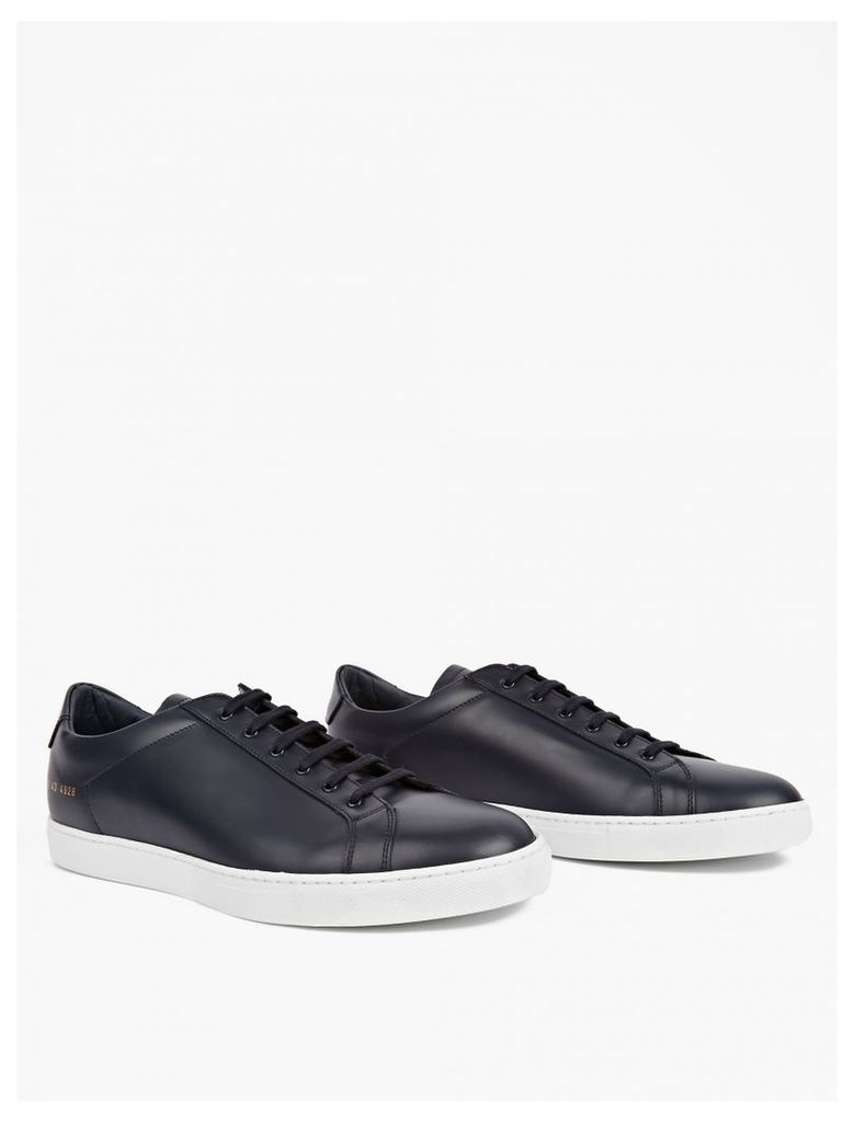 Navy Boxed Leather Achilles Sneakers