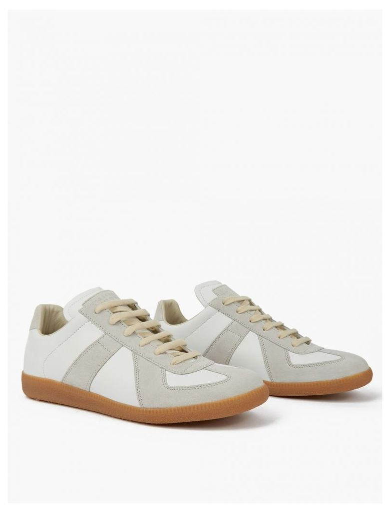 White Leather and Suede Replica Sneakers