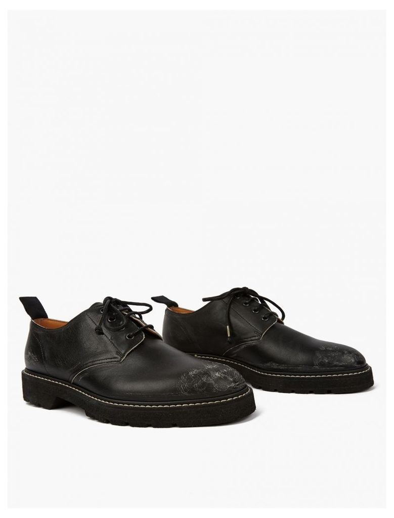 Black Scuffed Leather Derby Shoes