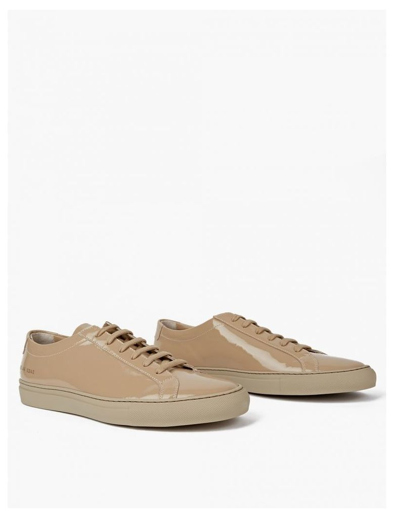 Taupe Gloss Leather Achilles Sneakers