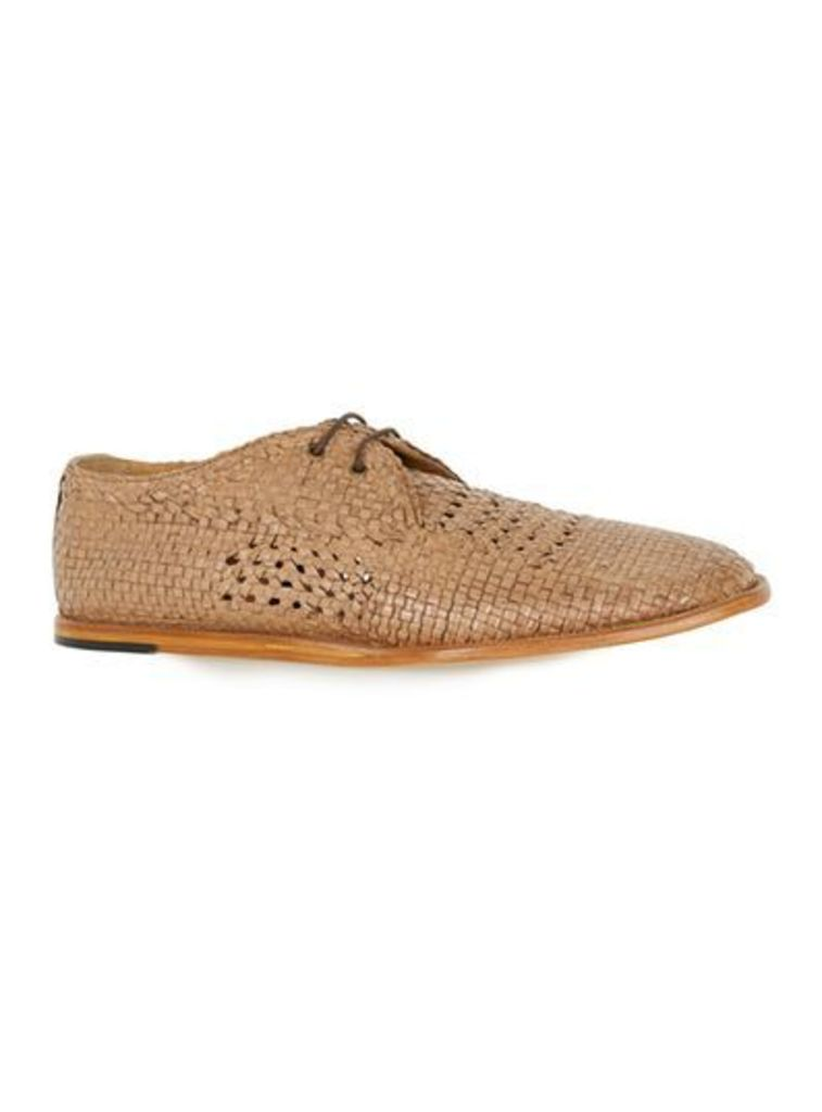 Mens Brown HUDSON Tan Woven Leather Lace Up Shoes, Brown