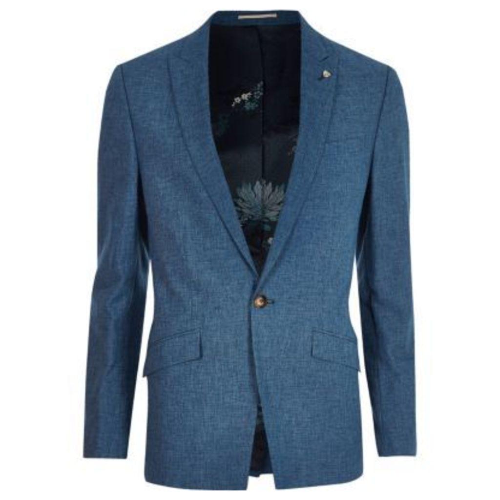 River Island Mens Blue linen slim fit suit jacket