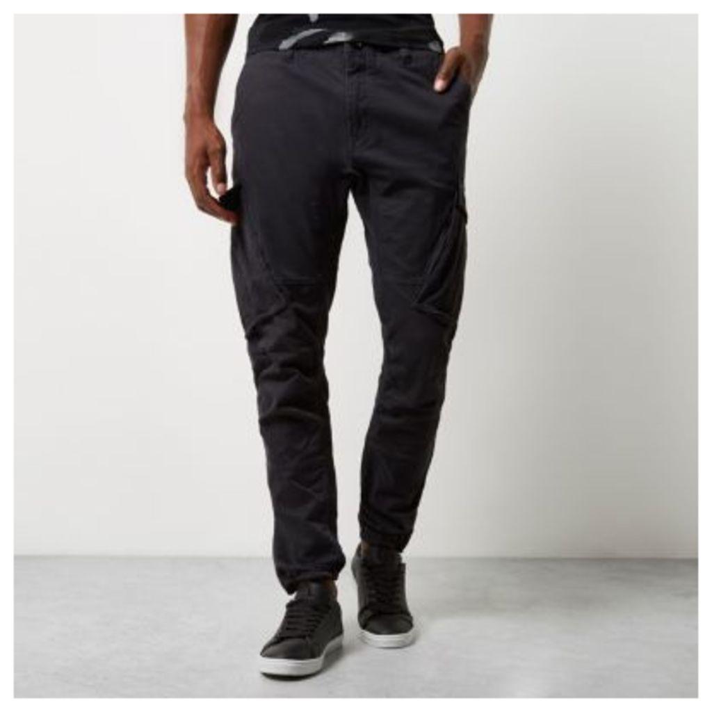 River Island Mens Black slim fit cargo trousers