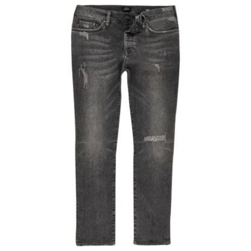 River Island Mens Grey distressed Dylan slim fit jeans