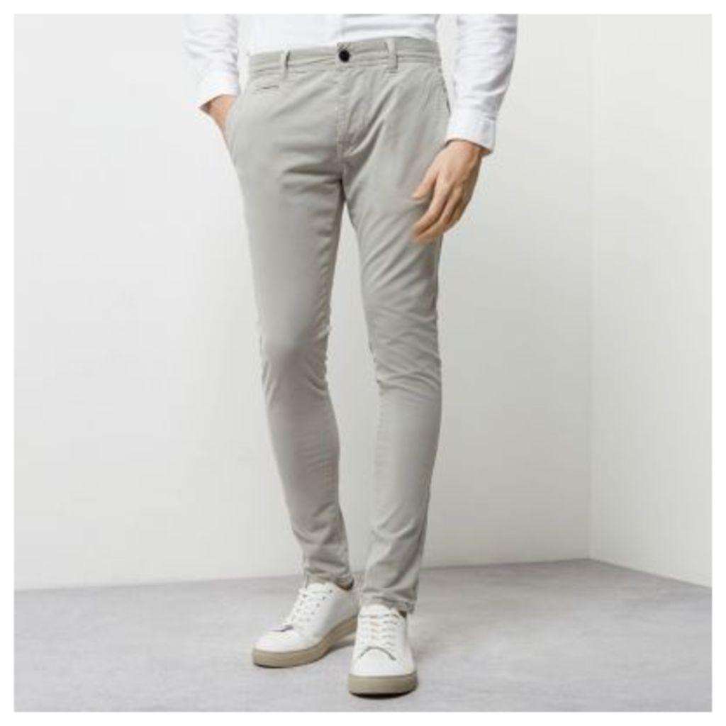 River Island Mens Grey stretch super skinny chino trousers